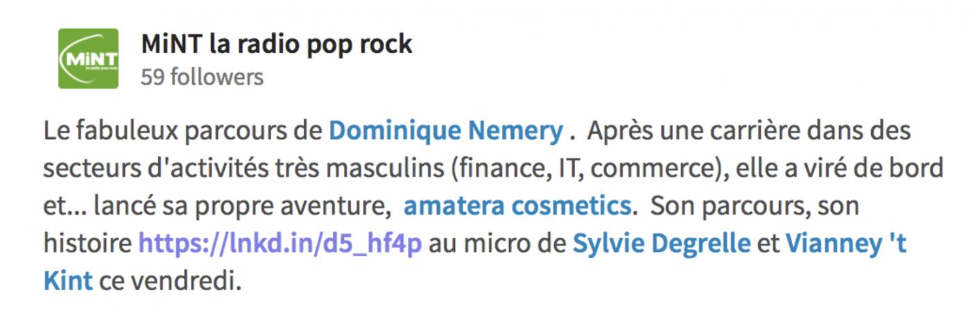 Mint présente Dominique Nemery d'amatera